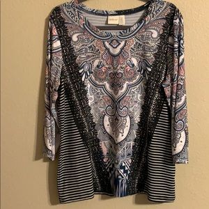Zenergy by Chico's 3/4 sleeve top 2/L